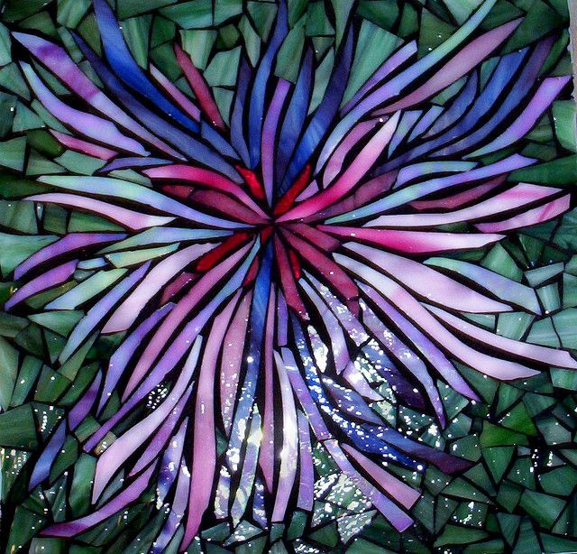 Spidermum stained glass mosaic