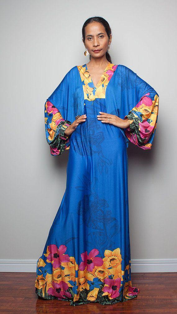 Boho Maxi Dress   Long   Sleeve Floral Dress  Funky by Nuichan, $58.00