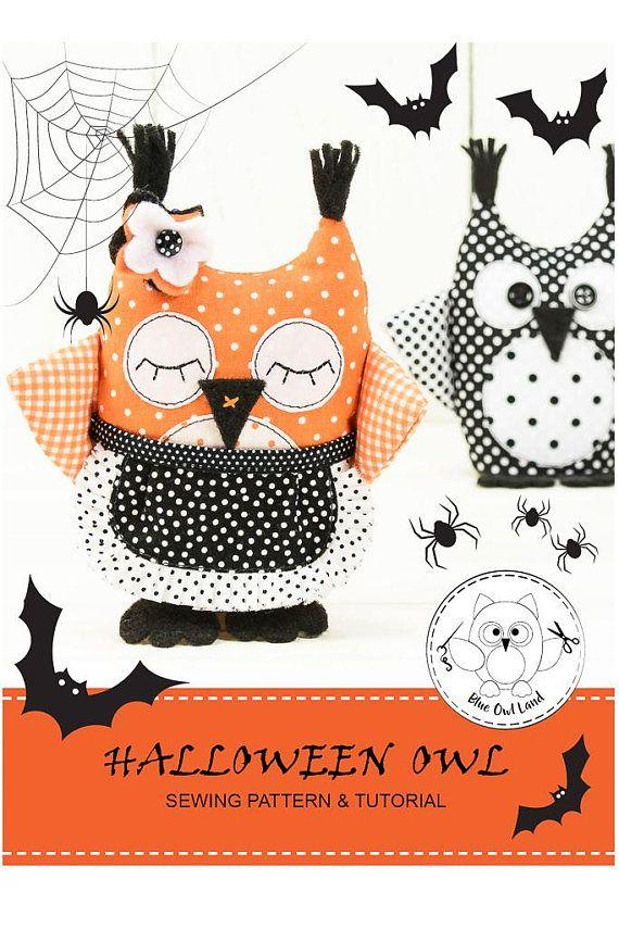 SEWING Pattern. Halloween. Sewing pattern. Owl pincushion. Halloween ...
