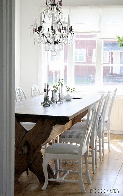 Casual Formal Dining Why Do I Love This So Many Reasons The Natural Wood Table The White Mism With Images Dining Room Remodel Casual Dining Rooms Dining Room Table