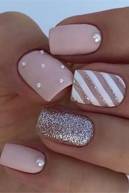 40 Cute And Beautiful Glitter Nail Designs Ideas For Summer Matte Nails Design Nail Designs Summer Nail Designs