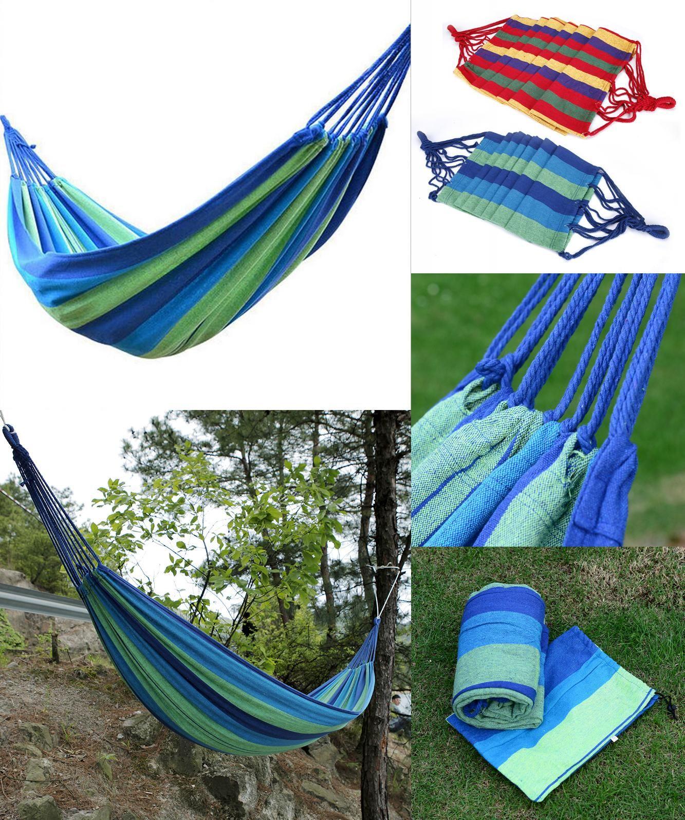 [Visit to Buy] Outdoor Garden Hammock Portable Hang BED