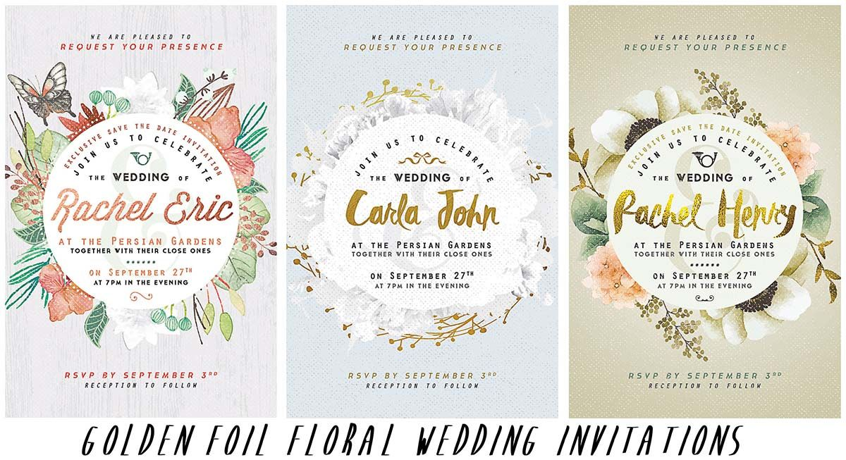 Golden wedding invitations with flowers | Mock-Ups, Lightroom ...