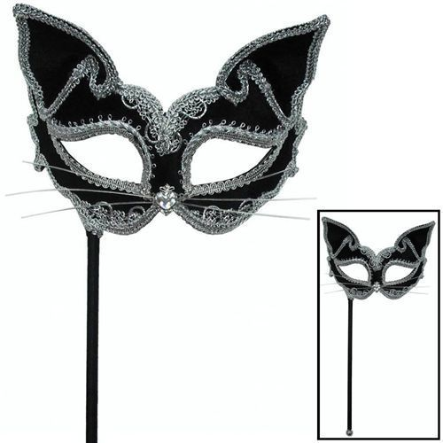 Black and gold Masquerade Eye Mask Fancy Dress accessory on stick