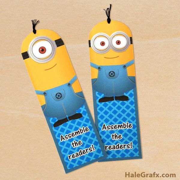 FREE Printable Despicable Me Minion Bookmarks ~ Print these adorable
