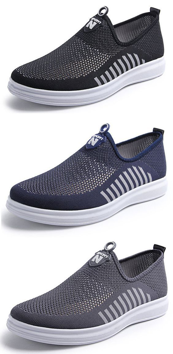 adec3b1ffb5f45 Men Mesh Fabric Breathable Light Weight Slip On Casual Shoes   Shoe ...