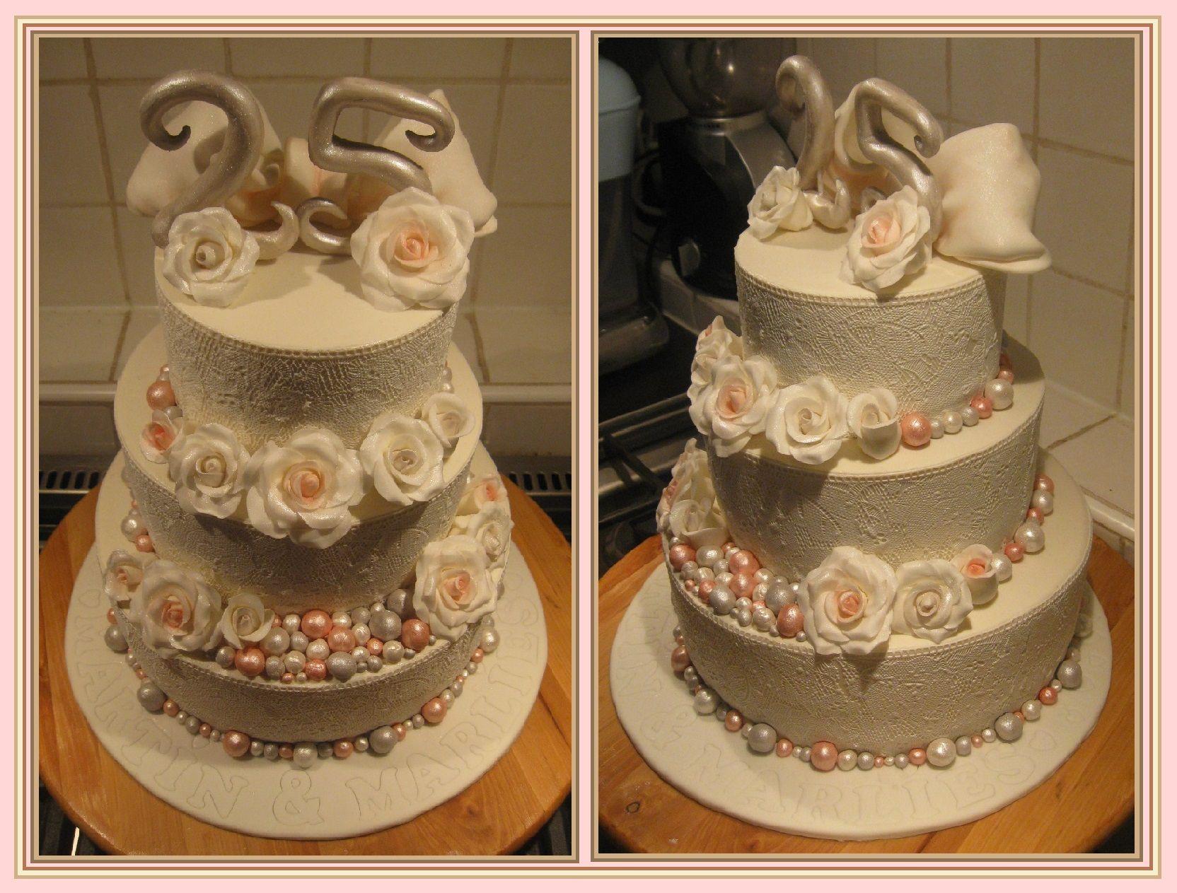 Wonderbaarlijk 25 jaar getrouwd! Deze taart is gemaakt door www YA-79