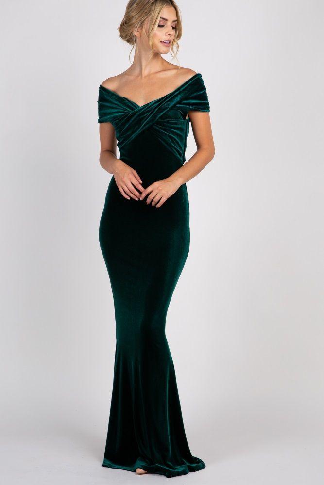 449162e568e9 Forest Green Velvet Off Shoulder Mermaid Evening Gown in 2019 ...