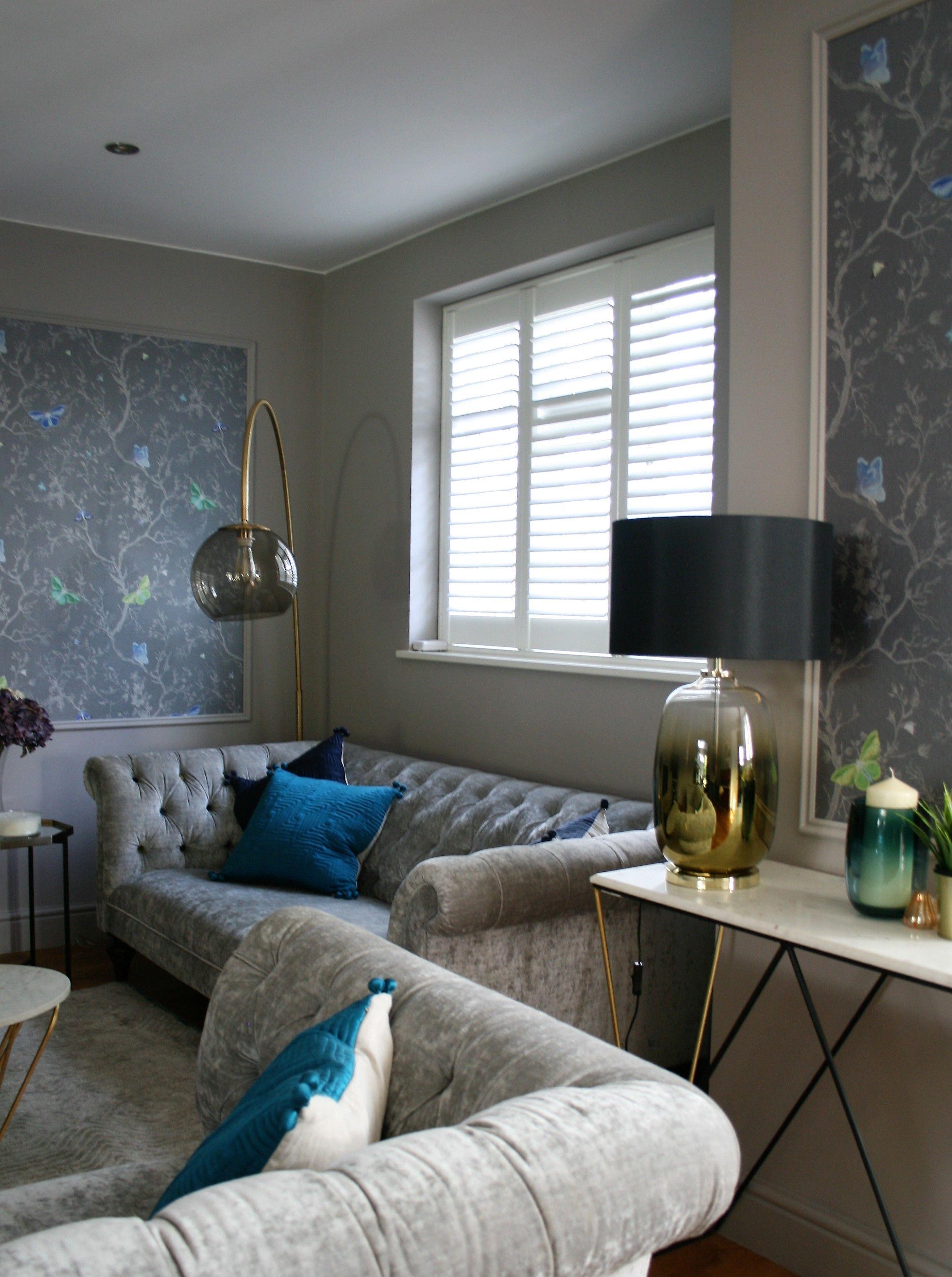 Design My Living Room Online: Beautiful Light Filled Formal Living Room With Grey Velvet