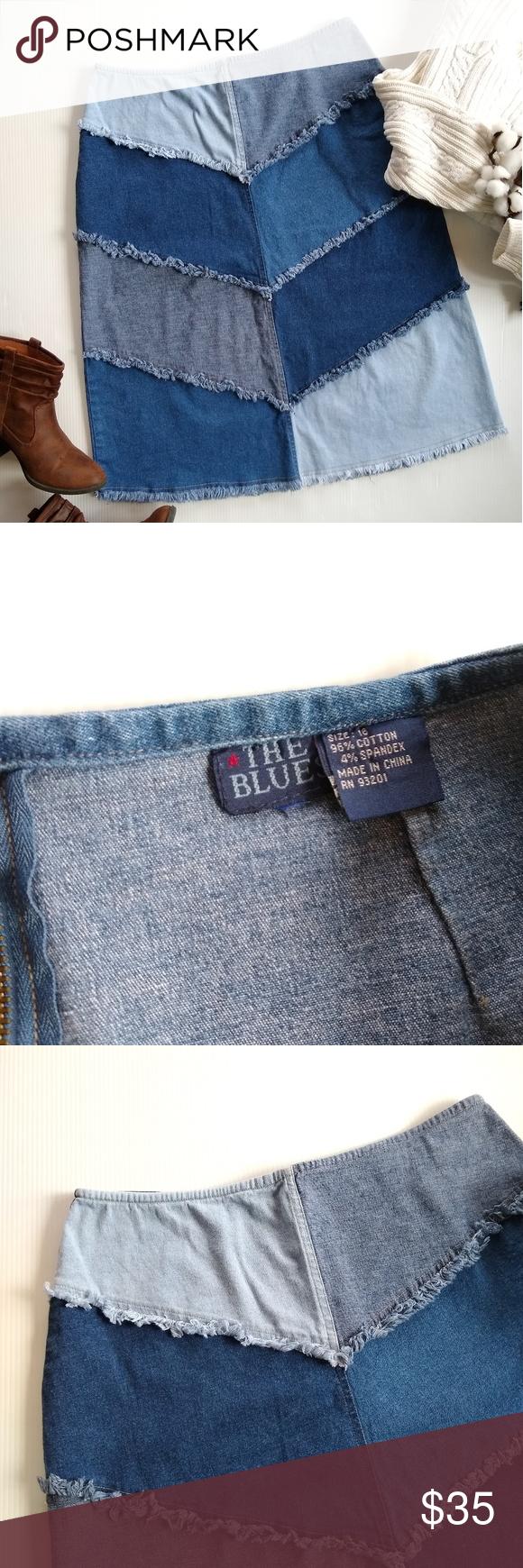 Vintage • denim patchwork frayed hem jean skirt Vintage