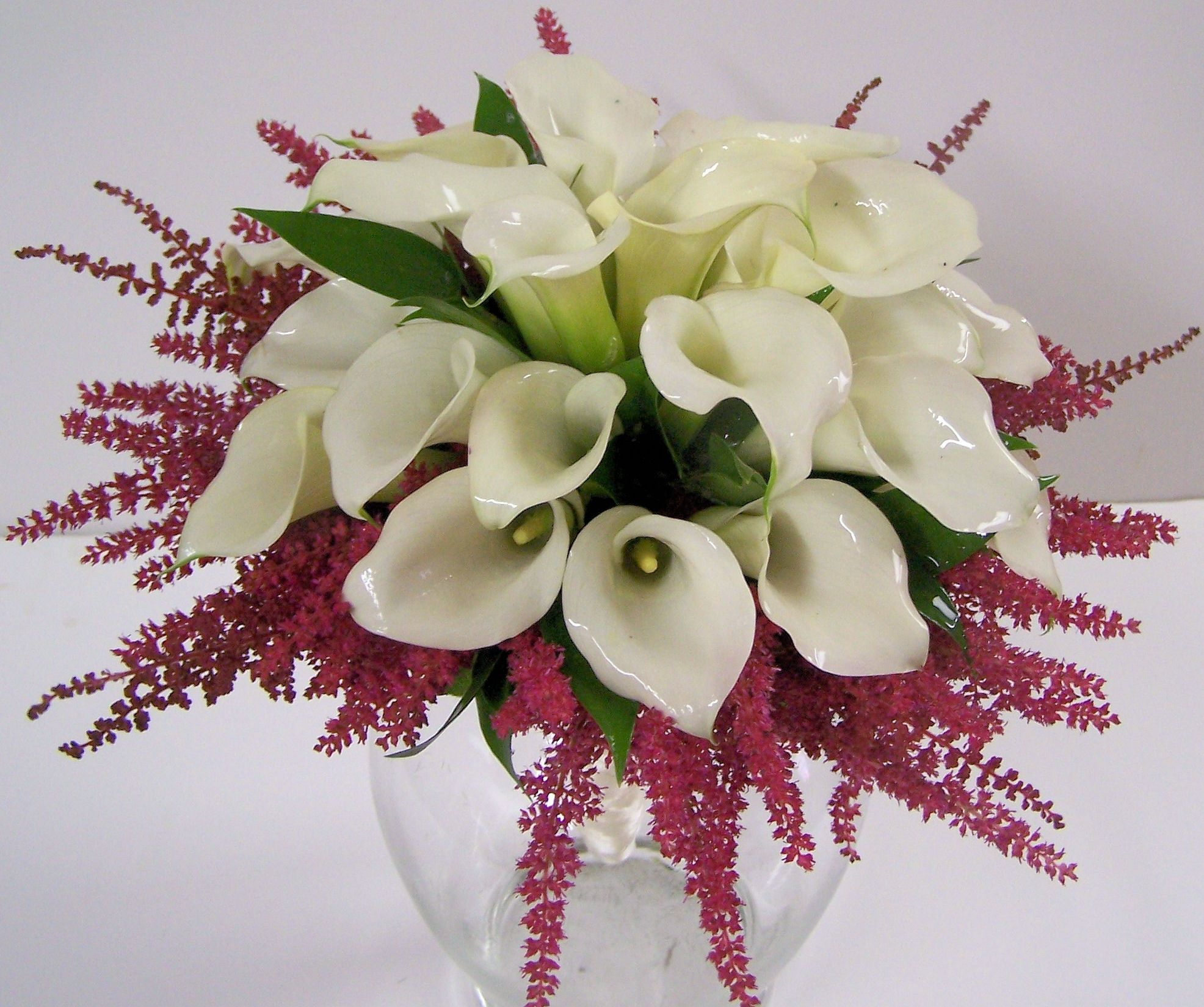 Unique Wedding Bouquet Consisting Of White Calla Lilies And Pink