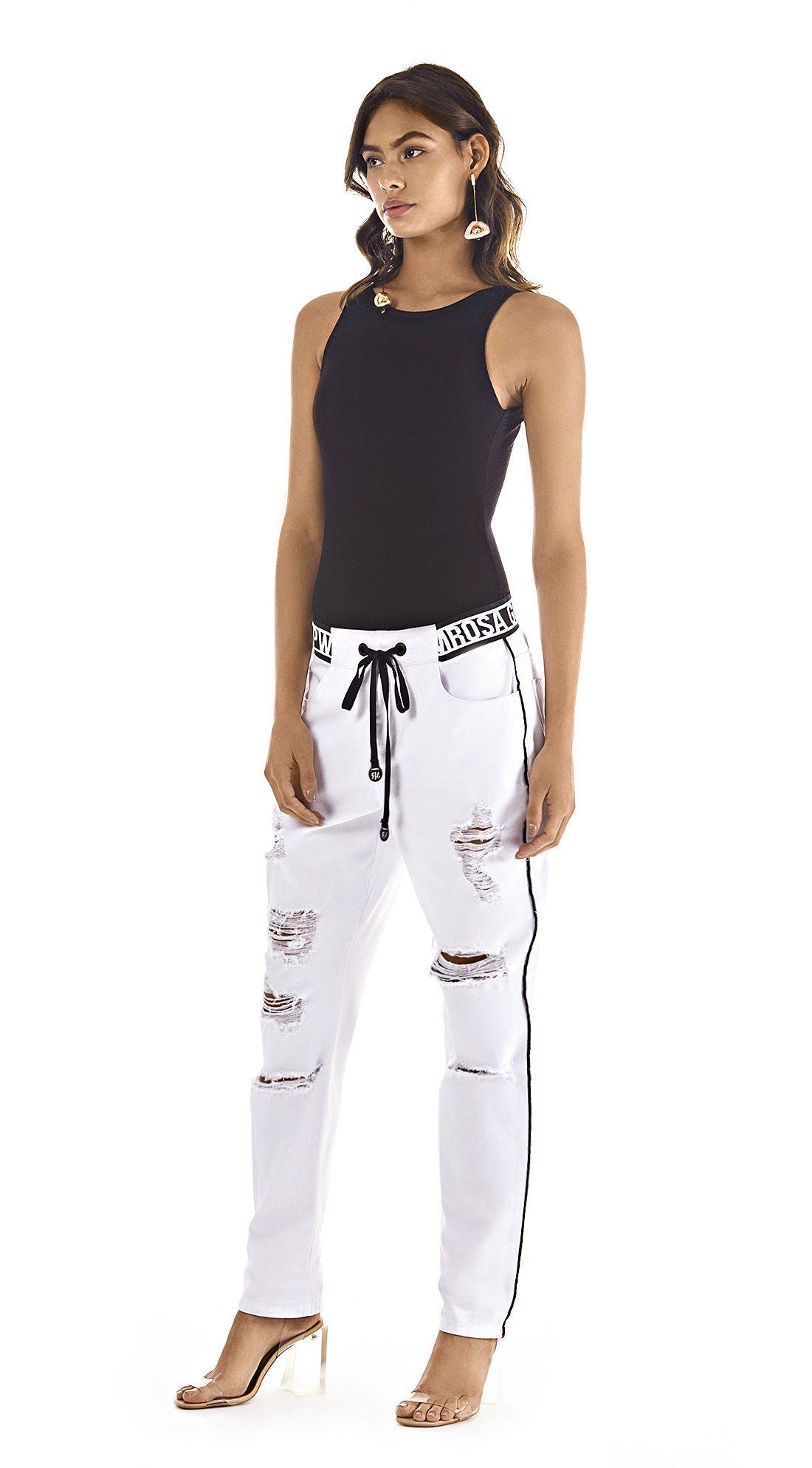 e3ed91d75 Calca Comfort Dani Cos Baixo Com Puidos Branco | \ jeans in 2019 ...