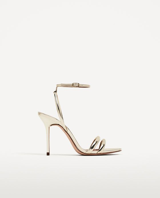 e5fc54ff5e3 Image 2 of GOLDEN STRAPPY HIGH HEEL SANDALS from Zara