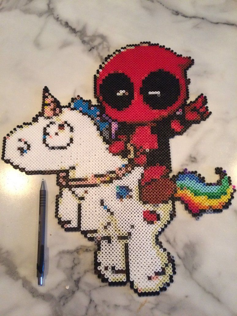 Deadpool And His Unicorn Perler Beads By Shandabdeviantartcom On