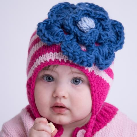 b01dfe2b276d0 Stella Pink Striped Baby Girl and Toddler Beanie with Violet Blue Knit  Flower
