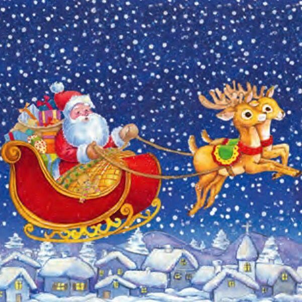 Прикольных, новогодние открытки дед мороз на санях с оленями