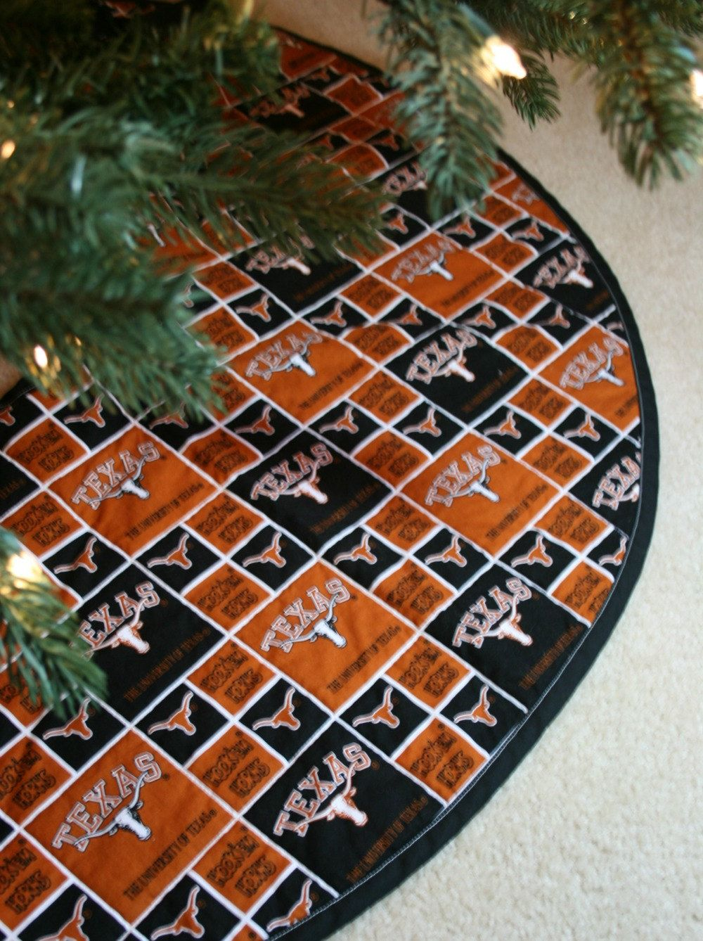 Christmas Tree Skirt Made From University Of Texas Fabric