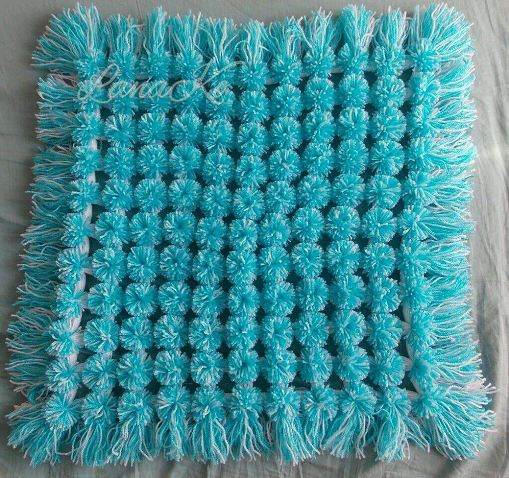 схема вязания коврика из помпонов