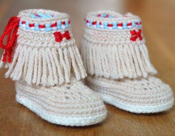 CROCHET PATTERN Baby Booties Fringe Moccasins 3 Sizes Photo Native ...