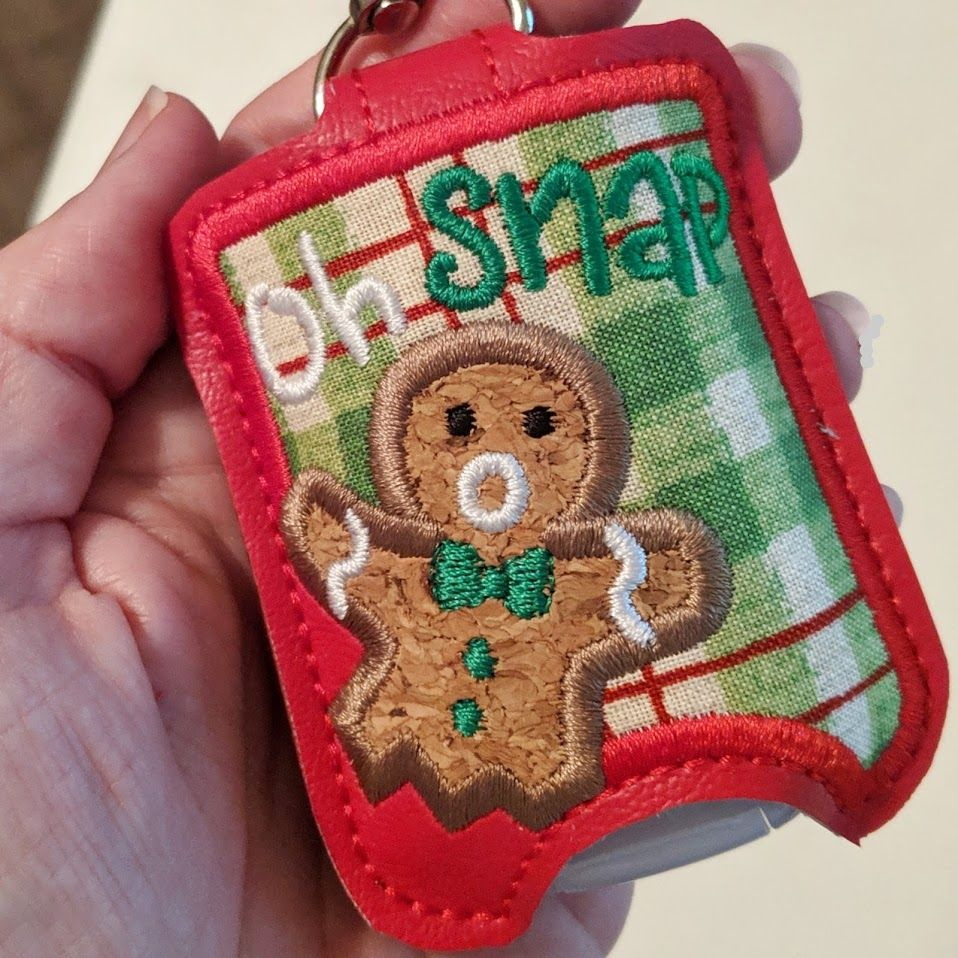 Oh Snap Gingerbread Hand Sanitizer Holder Key Fob Snap Tab