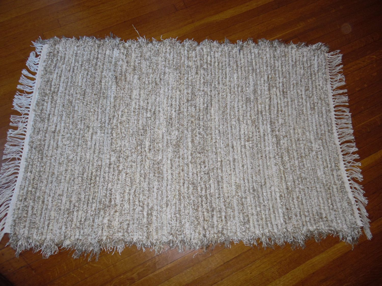 Handwoven rug one of a kind made on yr old loom gorgeous