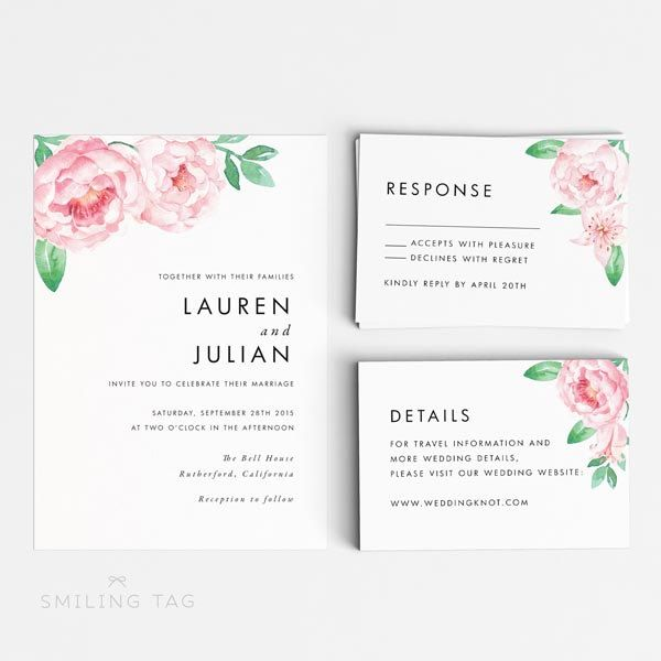 Printable Wedding Invitation Set - Romantic Floral Wedding