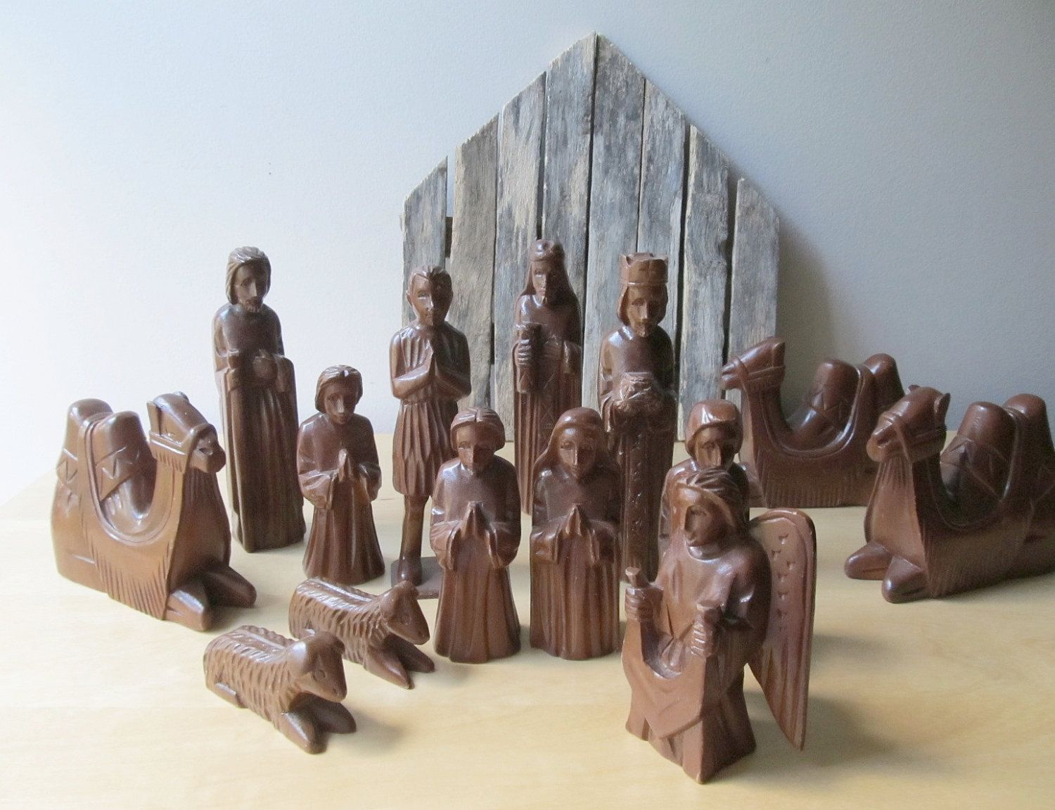 Wood Nativity Set Hand Carved Wooden Nativity Figurines Christmas