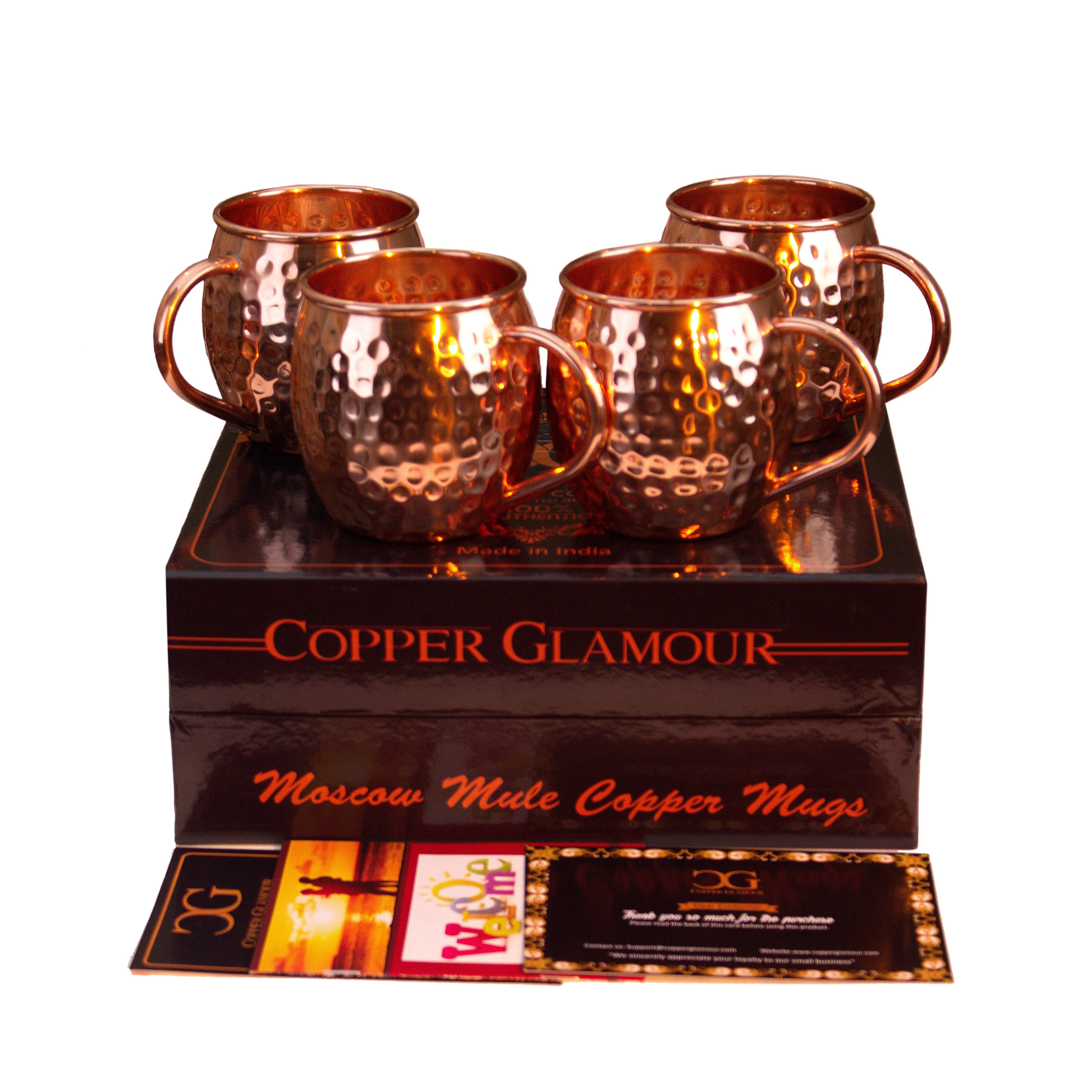 Copper Glamour Moscow Mule Copper Mugs Set Of 4 Gift