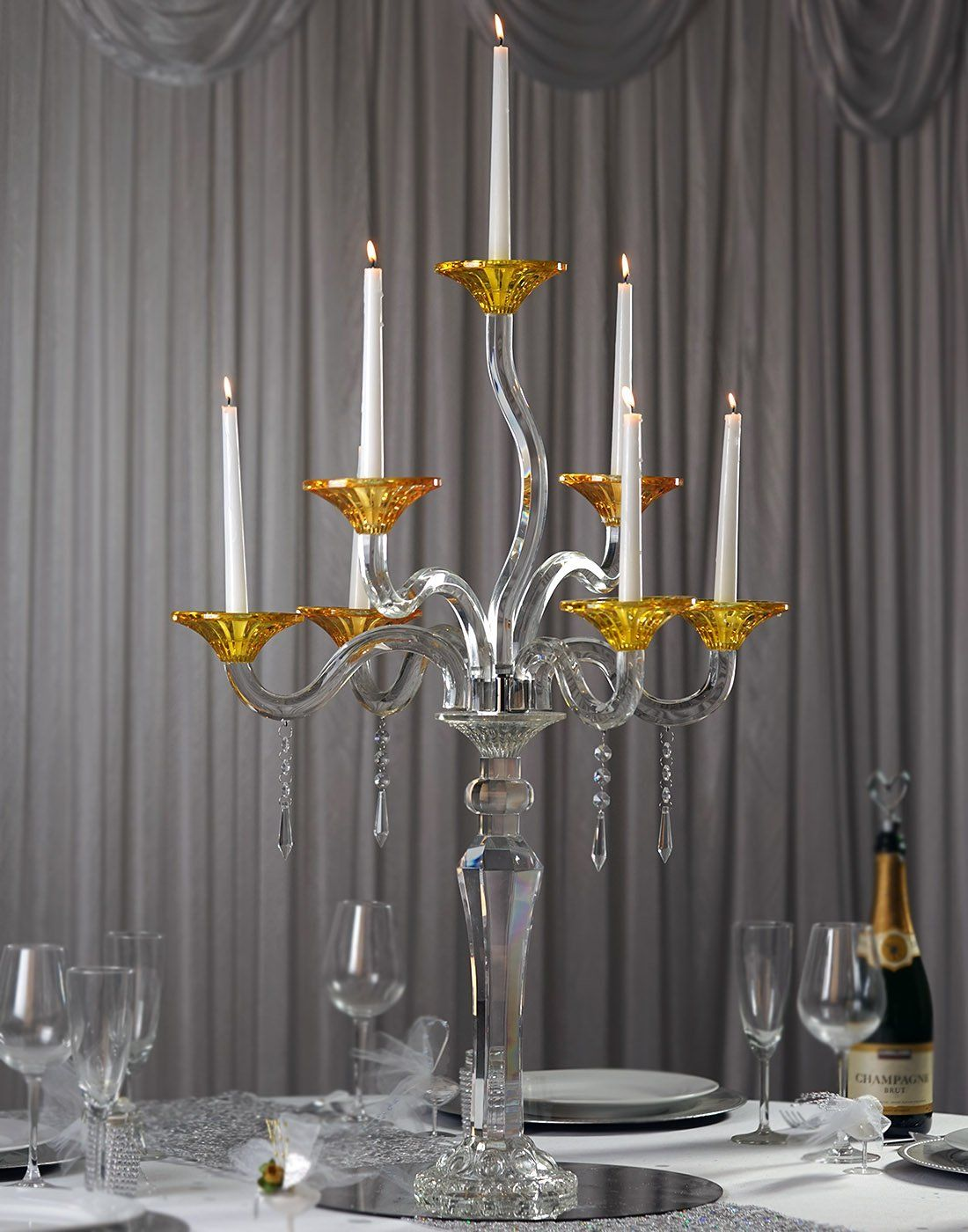33 Tall Handcrafted 7 Arm Dual Tone Crystal Glass Tabletop Candelabra Baroque Taper Votive Can Candle Holders Wedding Candle Holders Candleholder Centerpieces