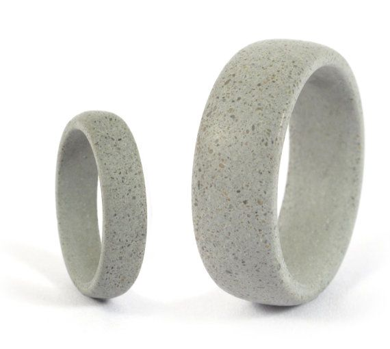 Set of two grey concrete wedding bands Unique and industrial round