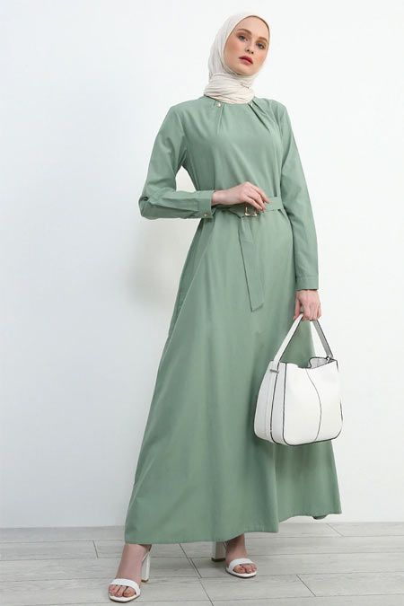 Refka Su Yesili Kemerli Elbise Online Satis Indirimli Satin Al Moda Stilleri Elbise Giyim