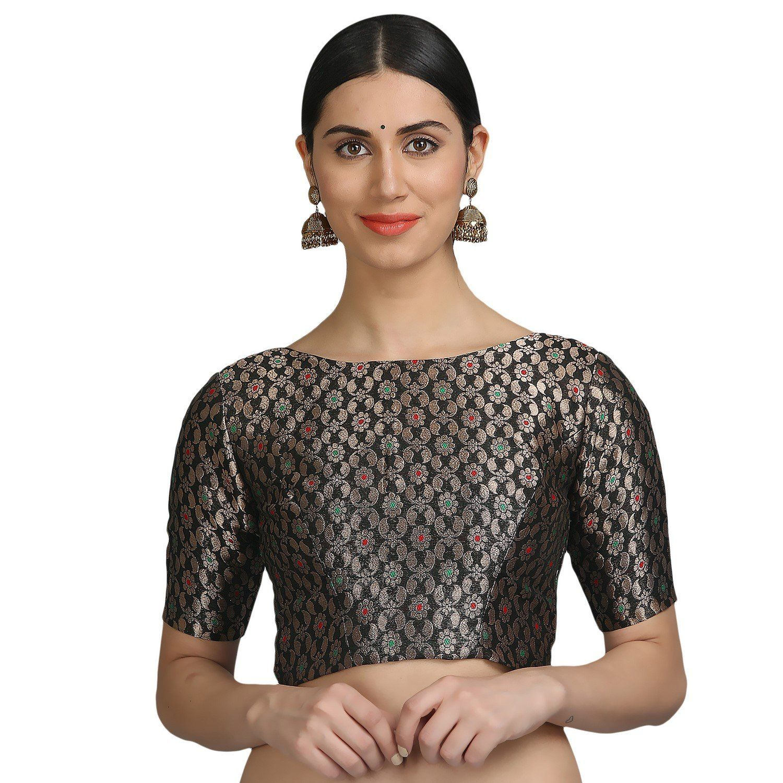 bdd41941ed59dc NIKA Women's Art Silk Brocade Padded Designer Saree Blouse by Kaanchie  Nanggia (BL1051_Black): Amazon.in: Clothing & Accessories