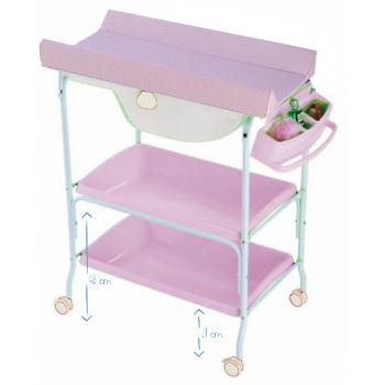 Bañera cambiador dos bandejas King Baby vichy rosa [1835VR] | 98,51€ : La tienda online para tu peke | tienda bebe pekebuba.com
