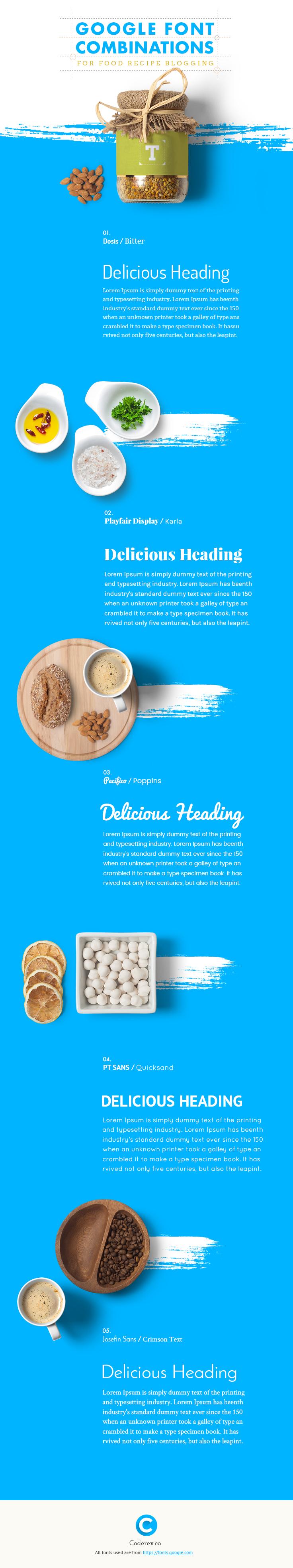Google Font Combination for Food Recipe Blogging.