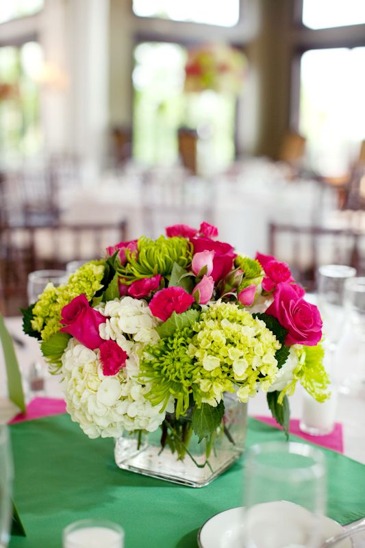 Hot pink and lime green wedding centerpieces bridal