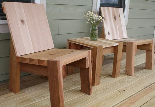 Cedar Adirondack-style chairs from Apartment Therapy.