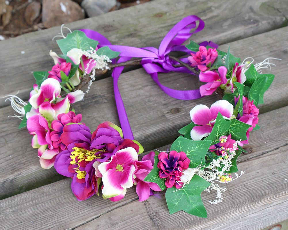 Click To Buy Purple Hydrangea Flower Crown With Leaves Garden