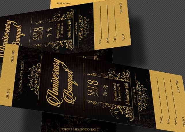 Golden Anniversary Banquet Ticket Template Entertainment Pinterest - banquet ticket template
