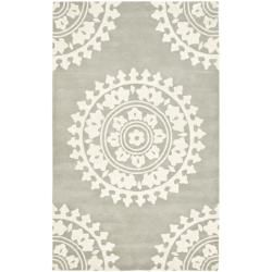 Handmade Soho Chrono Grey/Ivory New Zealand Wool Rug (6' x 9')