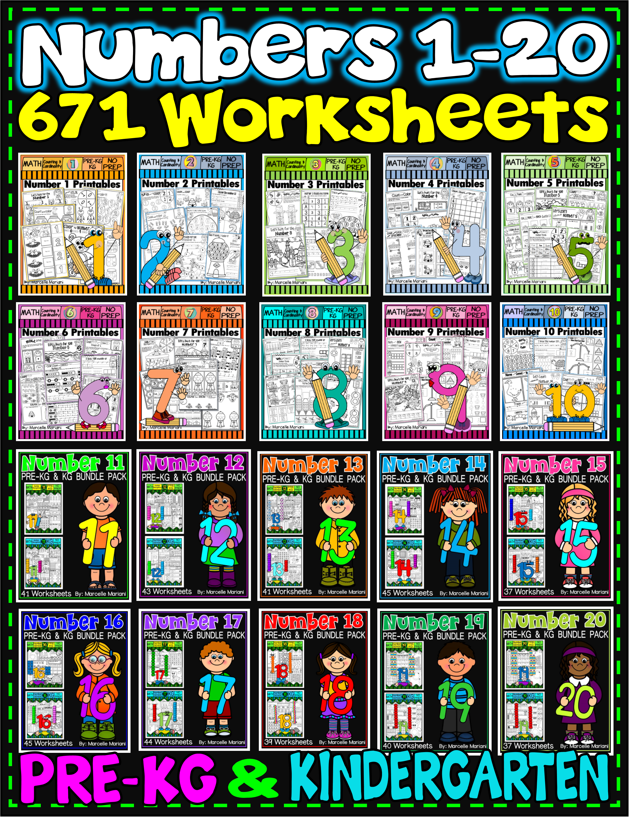 Number Worksheets 1 20 Math Worksheets Pre Kg Amp Kg