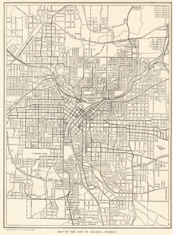 1917 Antique Atlanta Street Map City Map Of Atlanta Georgia Etsy In 2020 Atlanta Map Street Map Vintage Map