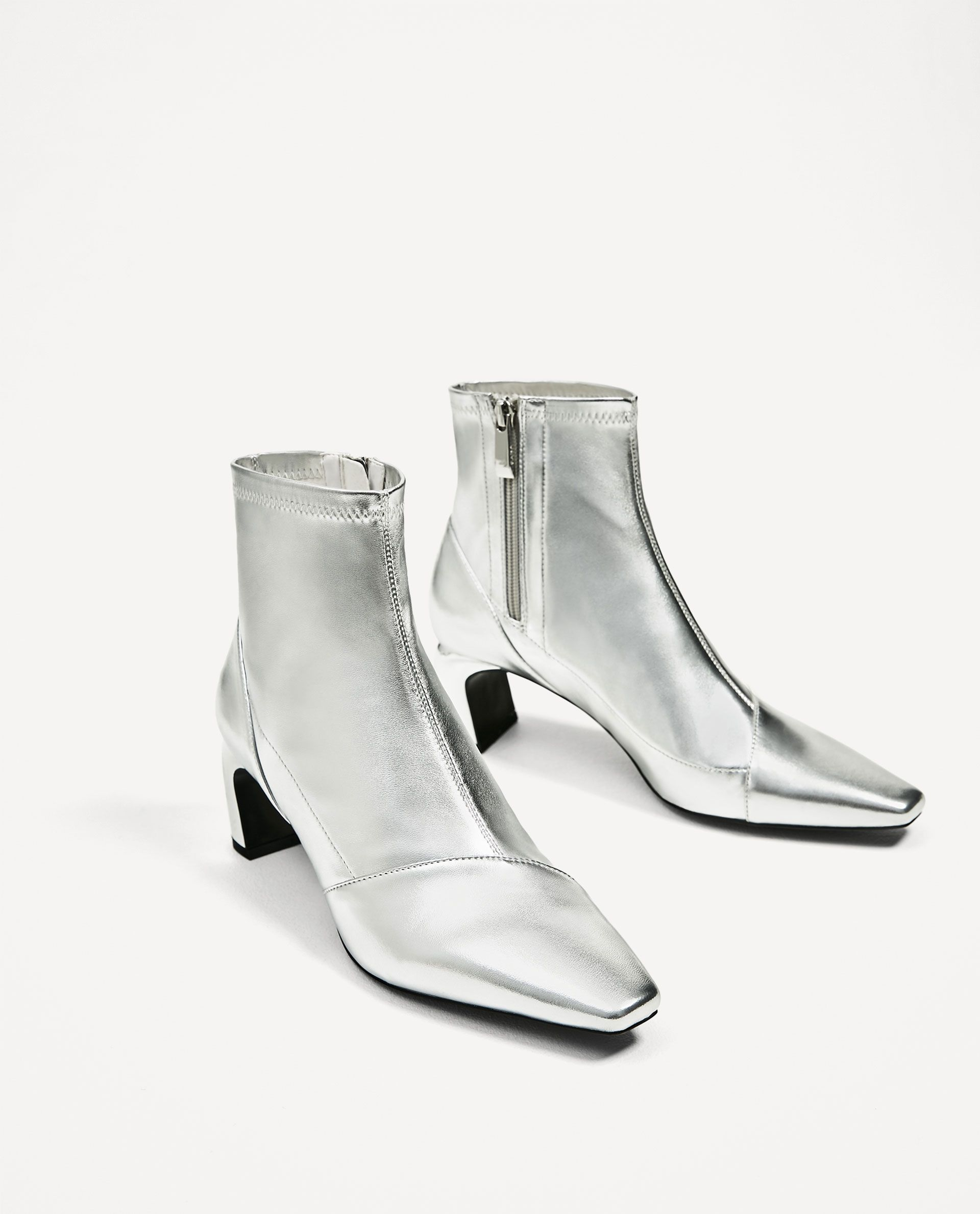a2be75d13a2 Zara Silver-toned Elastic High Heel Ankle Boots - prefer the block ...