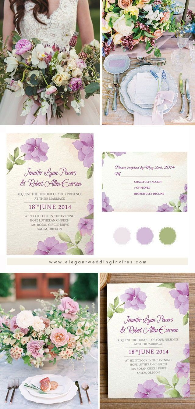 affordable purple flower watercolor spring wedding invitations ...