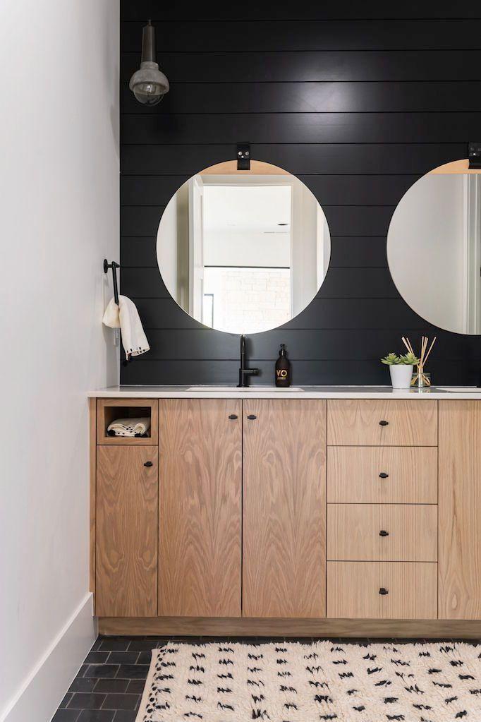 BECKI OWENS Black and White Bathroom with Artisan Tile
