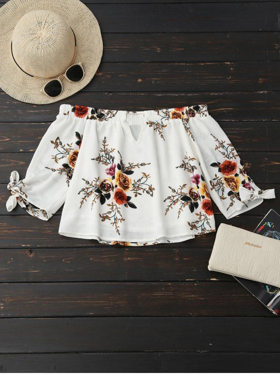 0926a7d87ad375 AD   Off Shoulder Keyhole Floral Cropped Blouse - WHITE Material  Cotton  Blends Shirt Length  Short Sleeves Length  Three Quarter Collar  Off The  Shoulder ...