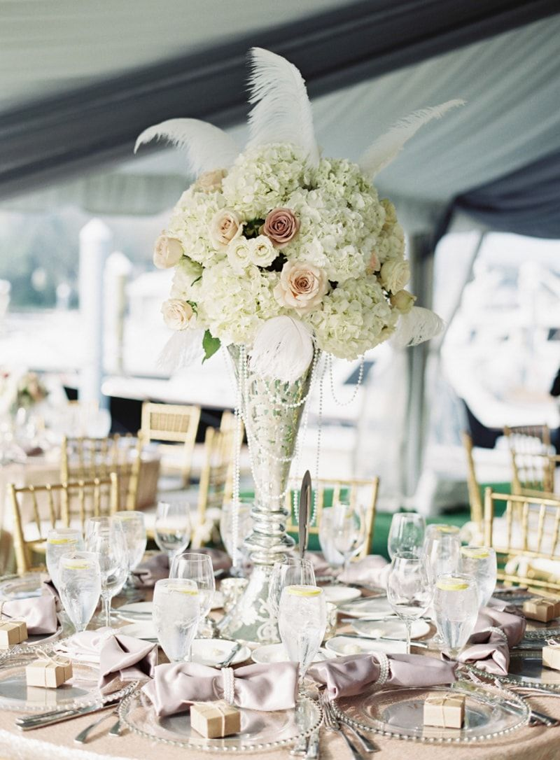 Feather Wedding Ideas | High top tables, Hydrangea and Centerpieces