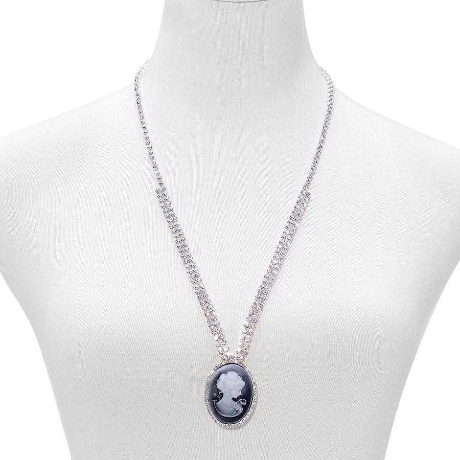 White Austrian Crystal Cameo Necklace (Size 26 with 2 inch Extender) in Silver Tone | TJC £9.99