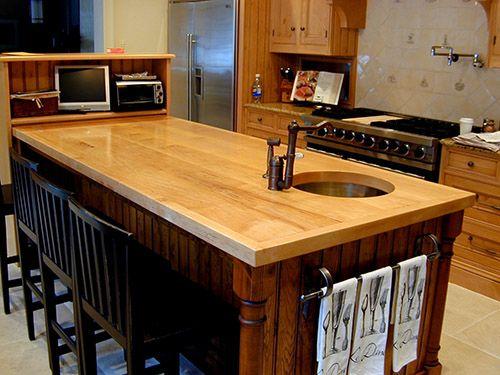 Maple Wide Plank Kitchen Island Countertop With Undermount