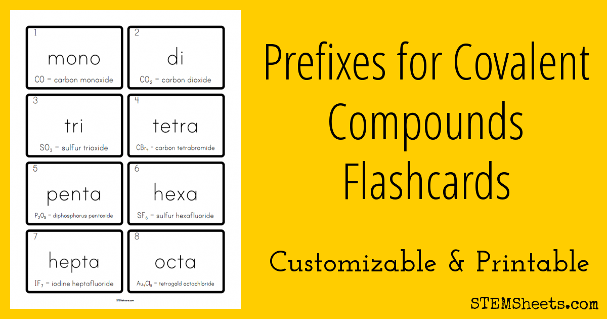 Printable and customizable prefixes for covalent compounds