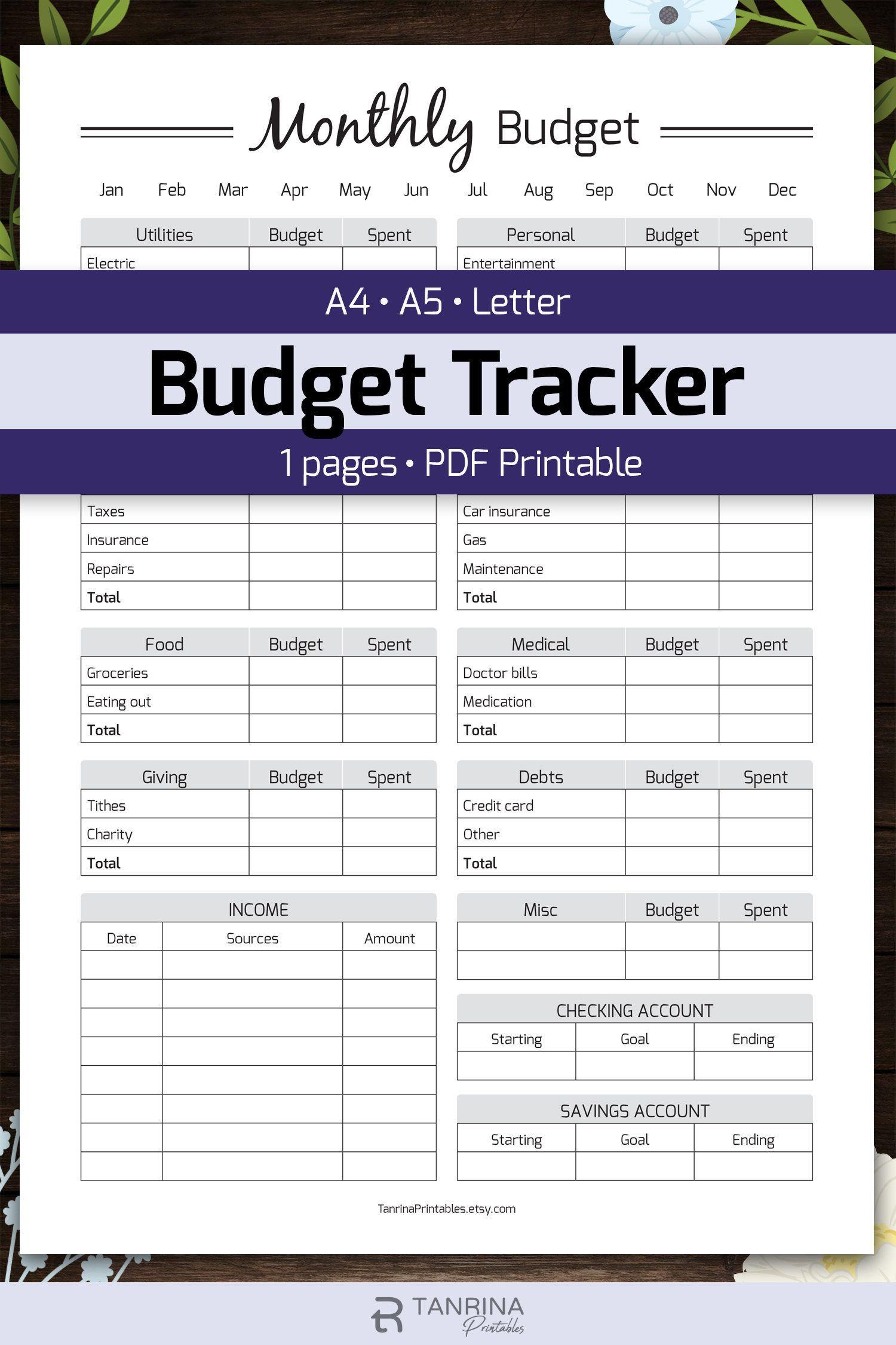 Monthly Budget Planner Printable Finance Money Tracker